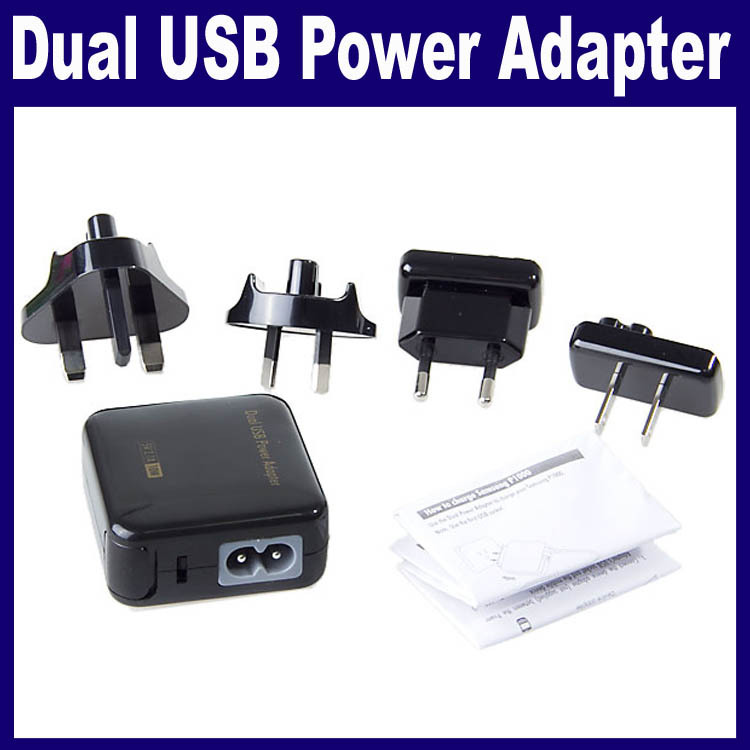 US/AU/UK/EU Plug 5V/2.1A Ultra Compact Dual USB Power Adapter Wall Charger(China (Mainland))