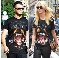 Free Shipping! New Fashion Giv Men's/Women's Cotton Short sleeve T-Shirt Tisci design Rottweiler Dog Shirts Top Tops Black