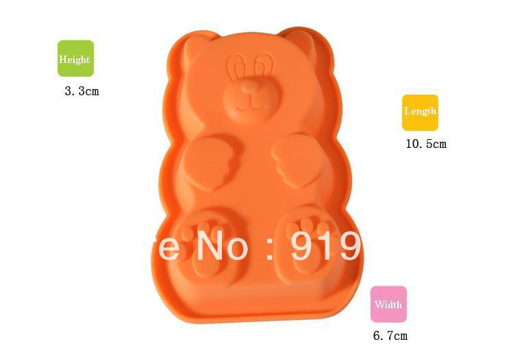 Free Shipping Hot Single Nice Bear Shape Mold Silicon Chocolate Mould Silicone Freeze Ice Cube Mould Silicone Soap Mould(Si081)(China (Mainland))