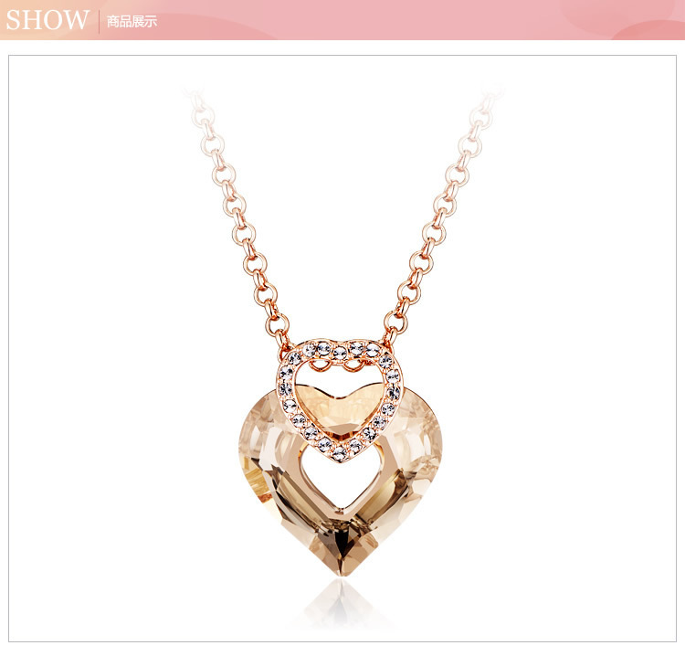 Italina jewelry genuine work eternal peach heart women necklace Swarovski Elements Crystal(China (Mainland))