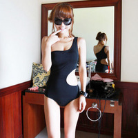 Female swimwear one piece triangle one shoulder s waist type sexy hot spring female swimsuit
