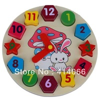 Free shipping  Wooden toy Digital Geometry Clock Children's educational toy building blocks