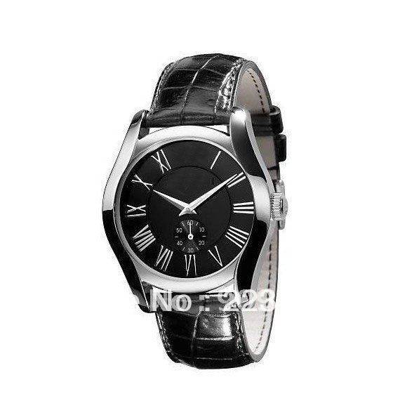Men's AR0643 Classic Black Leather Black Roman Numeral Dial Watch(China (Mainland))