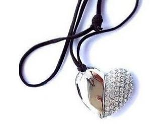 S-1 Wholesale Crystal Cute jewellery Heart Necklace 4GB 8GB 16GB 32GB USB Flash Memory Pen /Thumb/Car Drive Stick free shipping