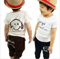 Retail  Kids set summer wear Short sleeve set Multicolor Children clothing suit Smiling face t shirt+pants free shipping