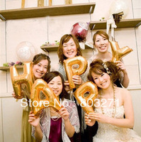 26pcs Small 35cm  Aluminum Letter/No.s Balloon  Foil Numbers Balloon Letters Birthday Balloons,Silver and Gold-Free Shipping