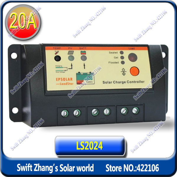 20A LS2024 EP PWM LandStar Solar Charge Controller Regulators / Solar home system controller with power switch(China (Mainland))