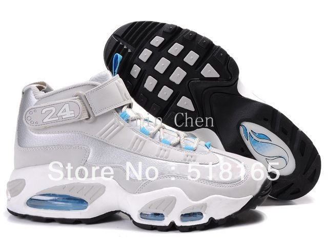 Free Shipping Wholesale Ken Griffey I Men's Basketball Sport Footwear Sneaker Shoes - Silver / White / Blue / Black(China (Mainland))