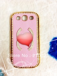 Free Shipping 3D flower Bling Crystal Diamond Rheinstone Leather Back Case Cover for samsung I9300 Galaxy SIII S3(China (Mainland))