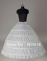 6-HOOP White Petticoat Wedding Gown Crinoline Petticoat Skirt Slip /3-HOOP