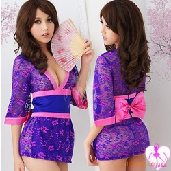Free shipping wholesale lace sexy toys adult sex kimono costume interesting(China (Mainland))