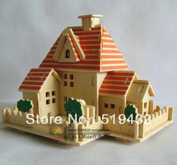A happy hut 3d puzzle model wood puzzle educational toys