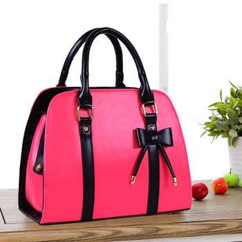 2013 women's handbag candy color block sweet gentlewomen bow handbag scrub women's bag