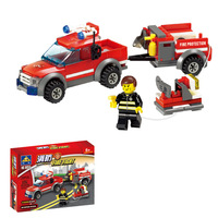 Fire truck with trailer Kazi 8055 143pcs building blocks 3D DIY assembling educational toys Children birthday gift Free Shipping