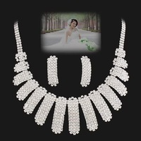 Bride wedding sets chain NEOGLORY silver full rhinestone princess elegant evening party formal dress luxury jewelry set necklace