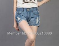 free shipping. 2013 modest fashion plus size blue jeans shorts women, hot selling cheap mid waisted fringe denim pants 2013