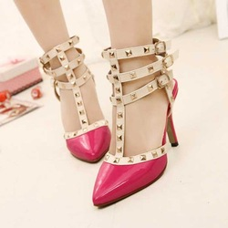 2013 Newest arrival fashion high heels pointed toe heels platform sexy rivet studded decoration belt wedding shoes(China (Mainland))
