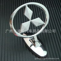 Mitsubishi chrome badge 3d logo,hood the bonnet cover car beacon,silver ABS hard plastic standard,stickers free shipping