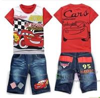 2013Free delivery model of children's wear children's cartoon kit cars boy short sleeve summer bull-puncher knickers SC - 112