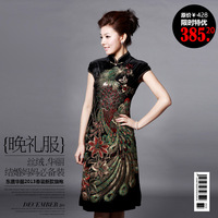 Cheongsam 2013 marriage wedding vintage velvet evening dress peony