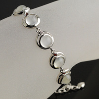 Natural crystal bracelet natural moonstone bracelet neon cat-eye 925 silver peacock
