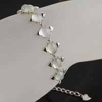 Natural crystal bracelet natural moonstone bracelet neon cat-eye 925 silver platinum small angel egg