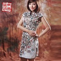 Cheongsam 2013 summer high quality satin print improved cheongsam chinese style dress