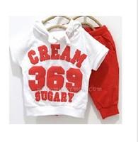 2013 new summer kids suit cream color 369 short sleeve hoodies+pants childrens summer clothing set baby suit 5pcs/lot