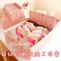 Free Shipping !Pink Cherry Folding Underwear Storage Panties Socks  Storage Box Set