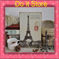 [ Do it ] Paris The Eiffel Tower Building iron painting Home Bar France Building metal painting 20*30 CM Free shipping