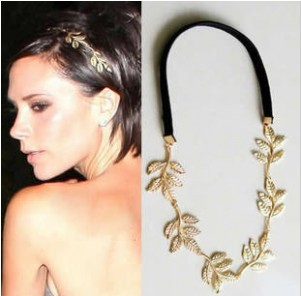 New Fashion Gold Elastic Romantic Olive Branch Leaves Head Bands Ha