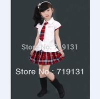 White shirt red plaid paragraph gentlewomen student school uniform customize kilt female child set female child dress