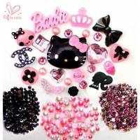 Hello Kitty Cabochon DIY Pink Crown Bow Crystal High Heel Beaty Skull Rhinestone Resin Flat-back Deco Kit