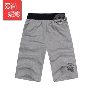 100% cotton casual sports pants male plus size casual knee-length pants capris straight loose
