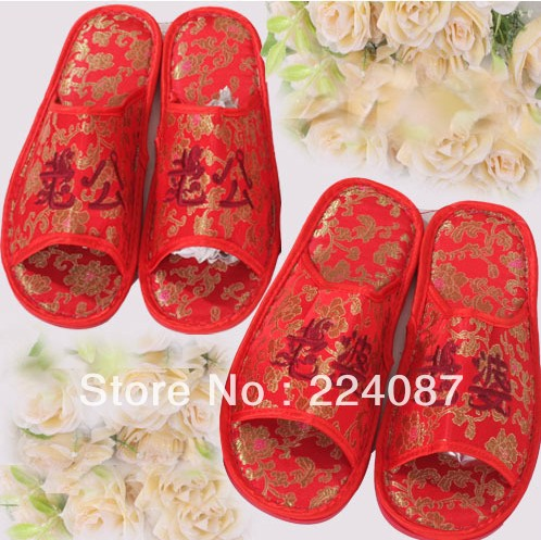 Bridal shoes the groom damask slippers red shoes(China (Mainland))