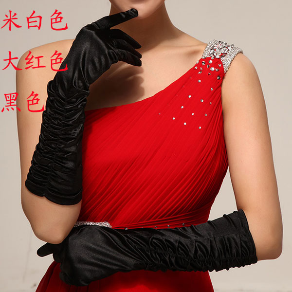 (Min.Order $20) The wedding gloves bridal gloves wedding dress formal dress gloves design long satin gloves 011(China (Mainland))