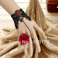 gothic punk rose black lace charm bracelets bangle fashion wristband dress accessory