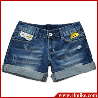 Ladies Summer Fashion cute smile face Pocket Rivet Ornament Denim Shorts, Women Blue short Jeans free shipping S-XXL WA178
