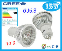 Factory directly sale 10pcs/lot CREE Bulb led bulb GU5.3 15w 5x3W 110V 220V Dimmable led Light led lamps spotlight free shipping