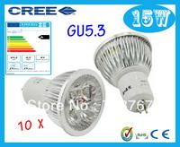 Factory directly sale 10pcs/lot CREE Bulb led bulb GU5.3 15w 5x3W 110V 220V Dimmable led Light led lamps spotlight free shipping
