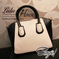 HOT selling fashion cross-body women's black and white PU leather handbag zipper handle brand vintage color block smiley bag