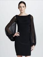 Free Shipping Spring Elegant Brand Designer Hand Beaded Chiffon Long Sleeve Black Backless Womens Club Dresses 2013 LY12145
