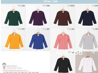 free shipping  2013 new  best quality Spring autumn cotton children wear candy color children Long-sleeved T-shirt