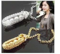 free shipping Korea edition sweet pea princess drill long necklace sweater chain(China (Mainland))
