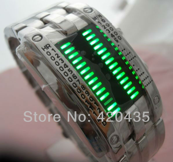 DHL Free Shipping luxury Design Staineless steel Binary Digital Watch Quartz Knight LED Boys Men&#39;s Wristwatch Gift w058 50pc/lot(China (Mainland))