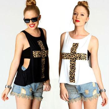 2014 Hot Sale Sexy Fashion Leopard Print Cross Pattern Print  Loose O-neck T-shirt  Twinset Womens Tops  D020