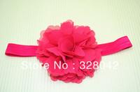 Trail order HOT!!!pink chiffon silk flowers Baby Headband,Girls chiffon  Flower Hair Band,Baby Hair Accessories 30pcs/lot