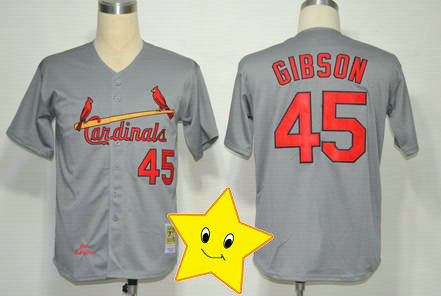 Fast Shipping authentic Bob Gibson Jersey #45 grey throwback jersey Baseball jersey wholesale fashion man t shirt(China (Mainland))