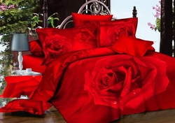 4pc hot sale wedding red comforter sets,500TC cotton red rose bed sheet size Full/Queen, EMS Free Shipping(China (Mainland))