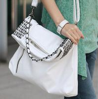 mini order 10$ 2013 autumn and winter women's handbag punk rivet chain portable one shoulder big bags messenger bag